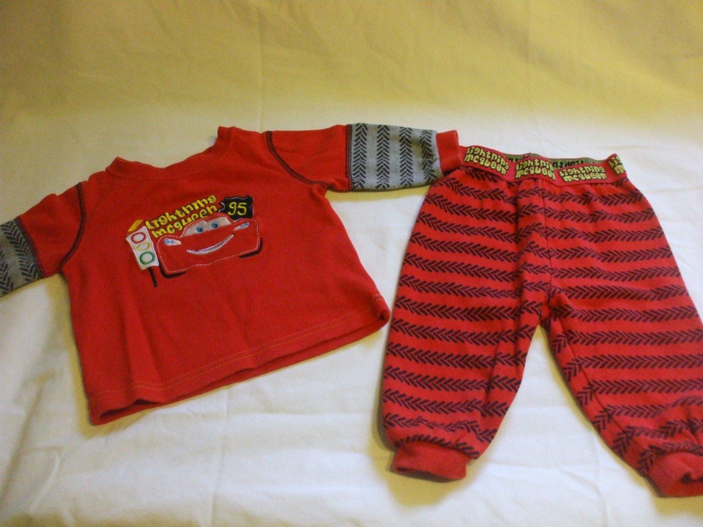 Disney Lightning McQueen Red P.J's Pyjamas Top and pants 3-6 Months 100% cotton
