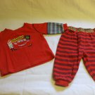 Disney Lightning McQueen Red P.J's Pyjamas Top and pants 3-6 Months 100% cotton