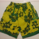 Boys Yellow And Green Jamaica Swiming Trunks Size 10-12 TBL Swimwear