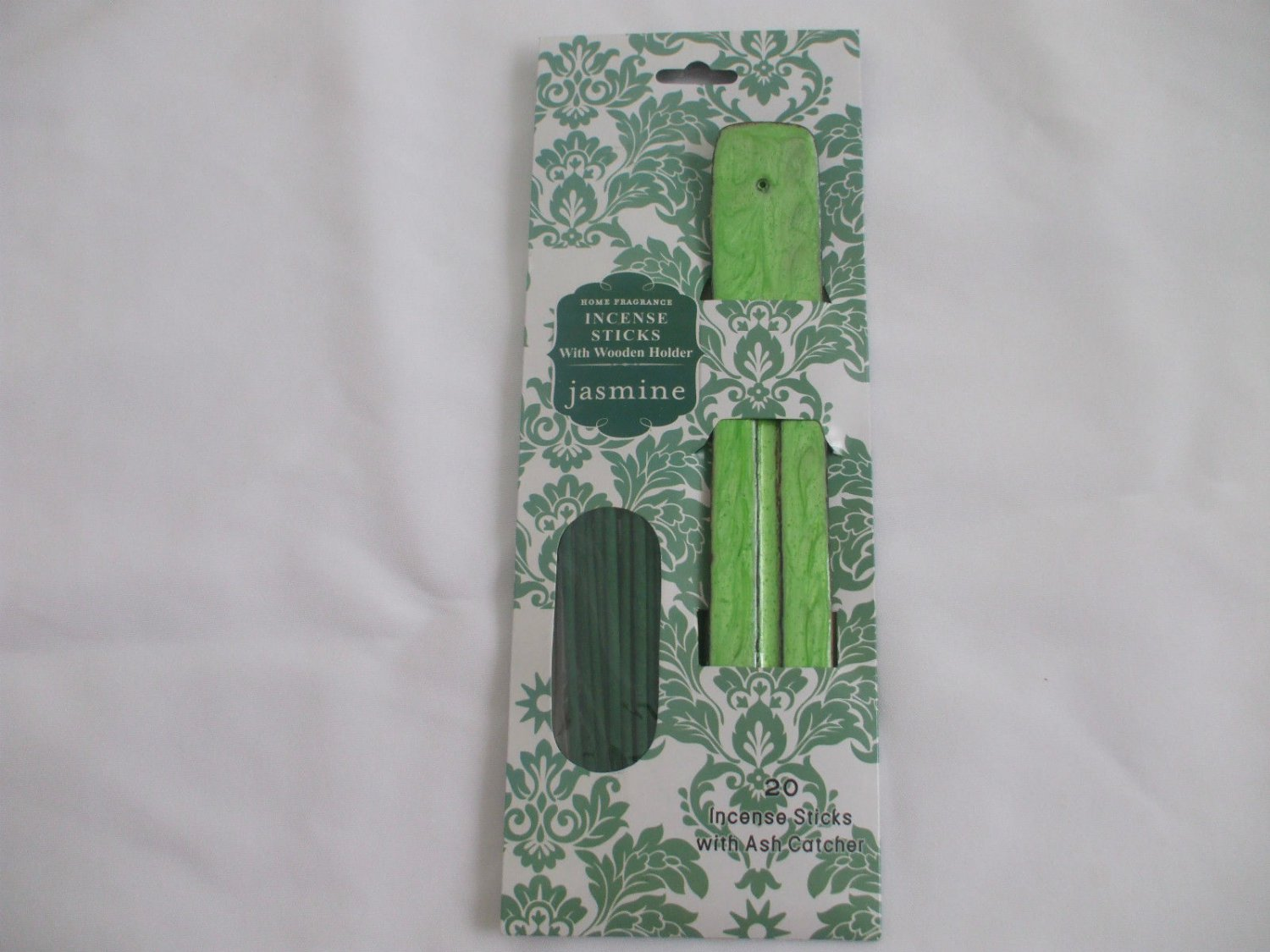 Jasmine Incense Sticks With Green Wooden Ash Catcher Incense Holder 20 Sticks
