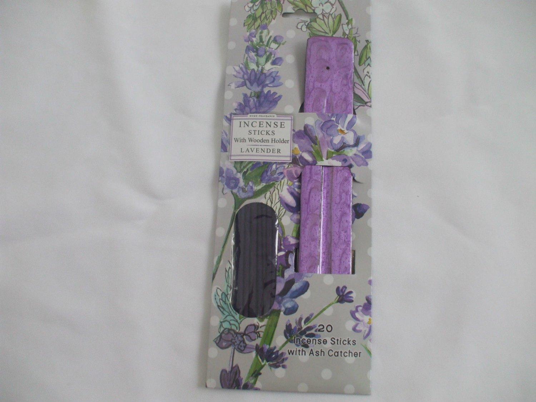 Lavender Incense Sticks With Purple Wooden Ash Catcher Incense Holder 20 Sticks