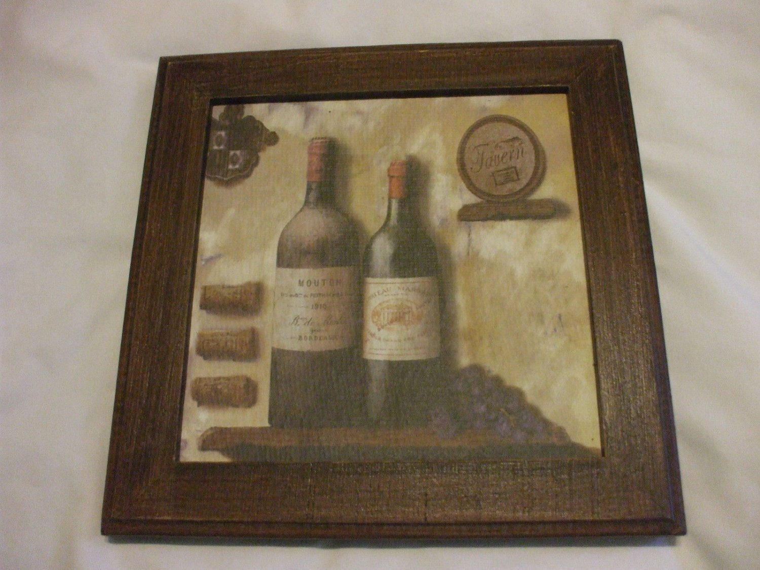 Shabby Chic Wine Bottles And Grapes Wooden Wall Hanging Picture Frame 7.5 Inch X 7.5 Inch