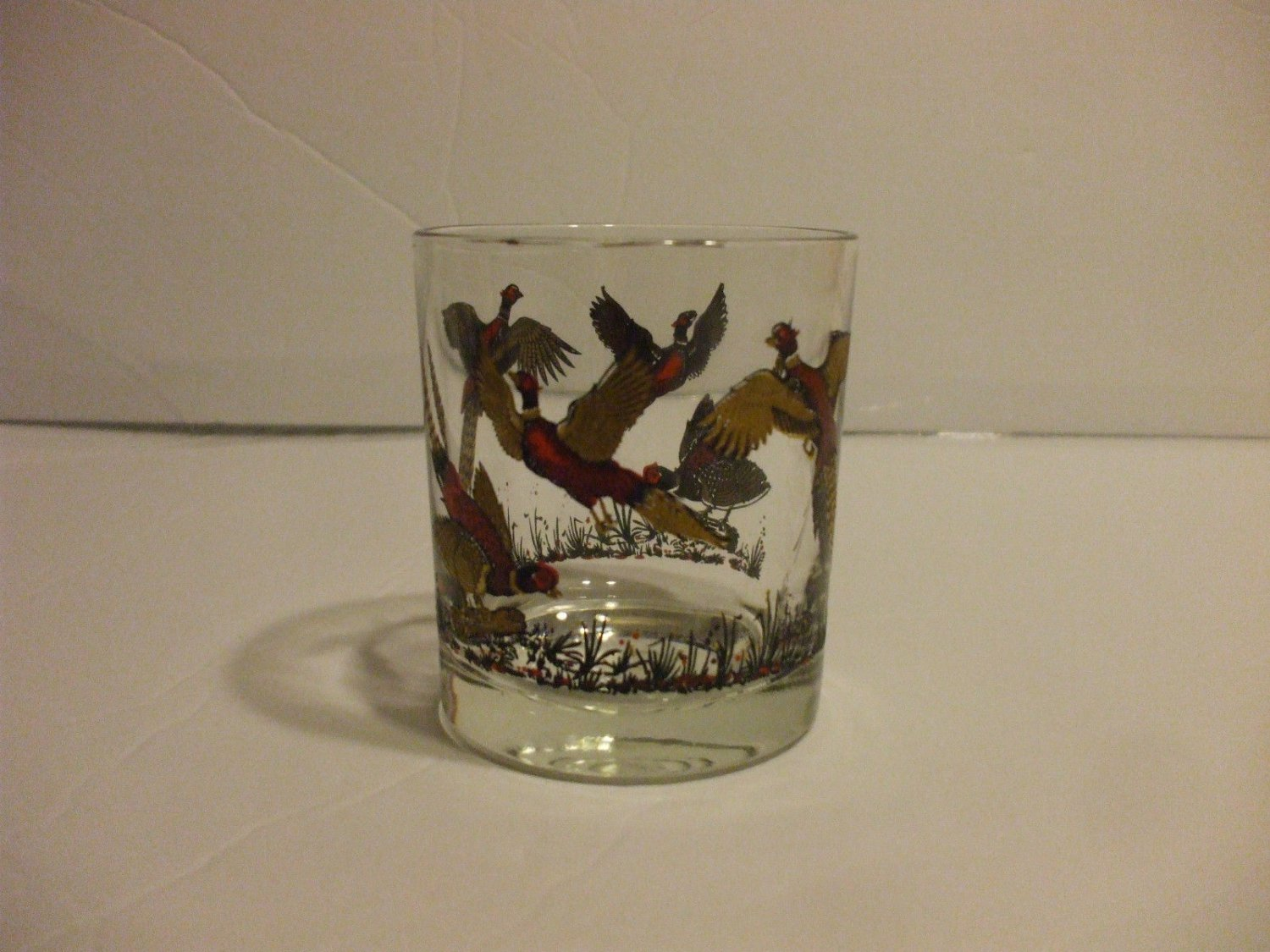 Glass Tumbler Red And Gold Bird Design 6-10oz
