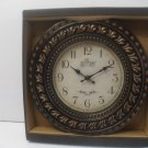 12 Inch Clock Wall Mounted Battery Powered Brown Plastic Frame