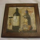 Shabby Chic Wine Bottles With Grapes And Corkscrew Wooden Wall Hanging  Picture Frame