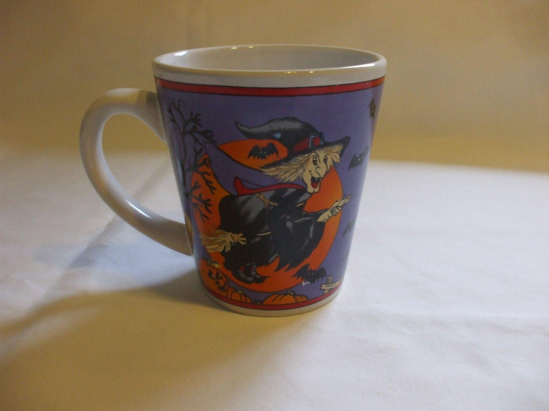 12 Oz Purple Halloween Witch Mug Glass Cup