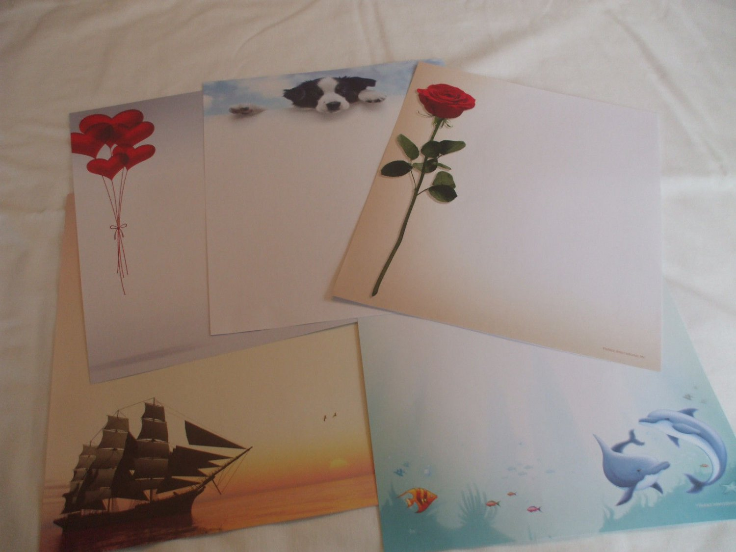 20 Sheets Decorative Paper Stationary 8.5 x 11 Red Rose Dolphins Sailboat Puppy