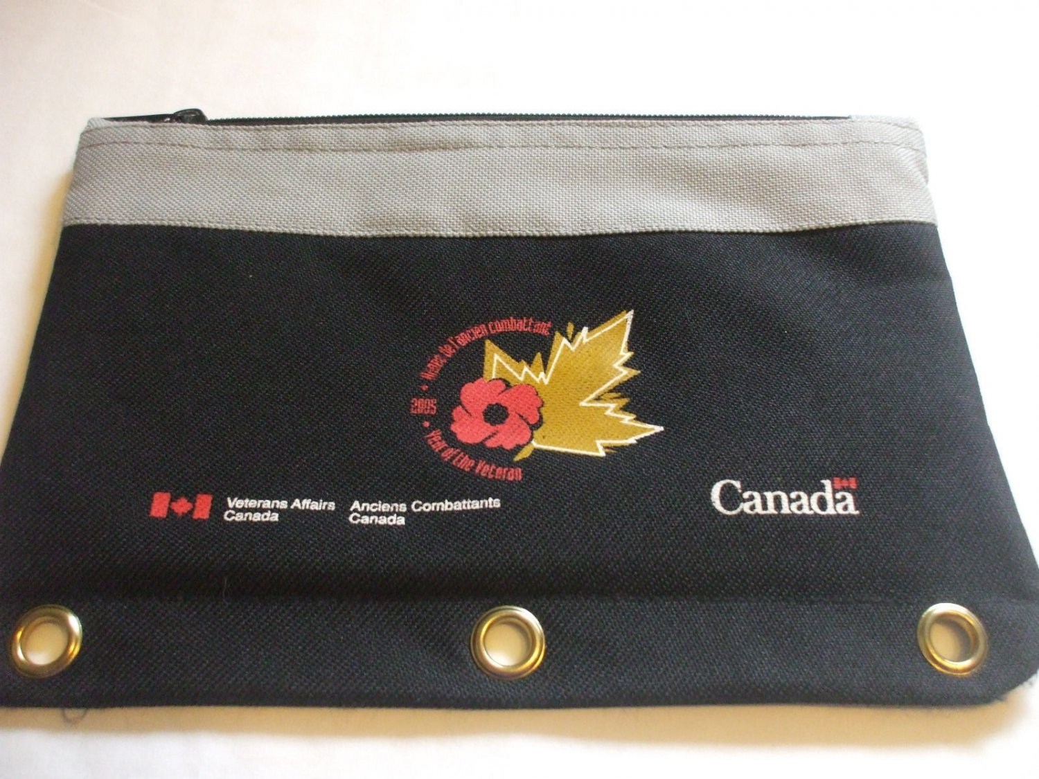 Collectors Pencil Case Veteran's Affairs Canada Black For 3 Ring Binder