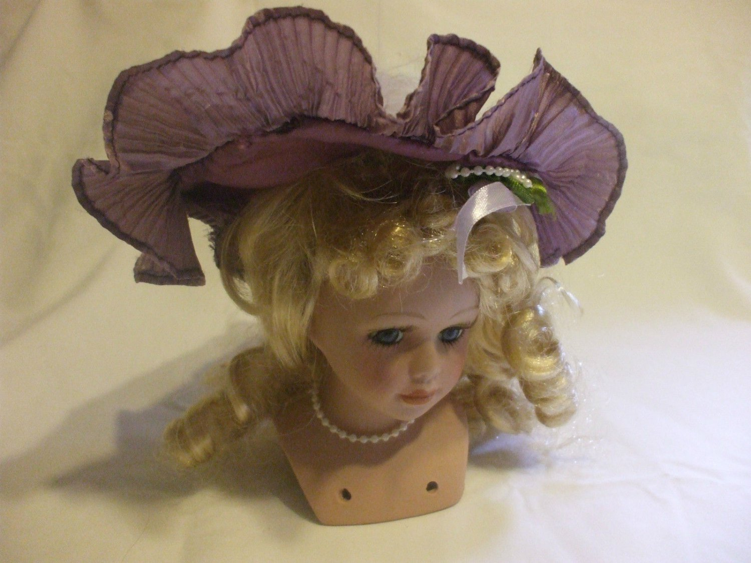 Porcelain Doll Head With Purple Hat & Blond Hair For Crafters And Collectors