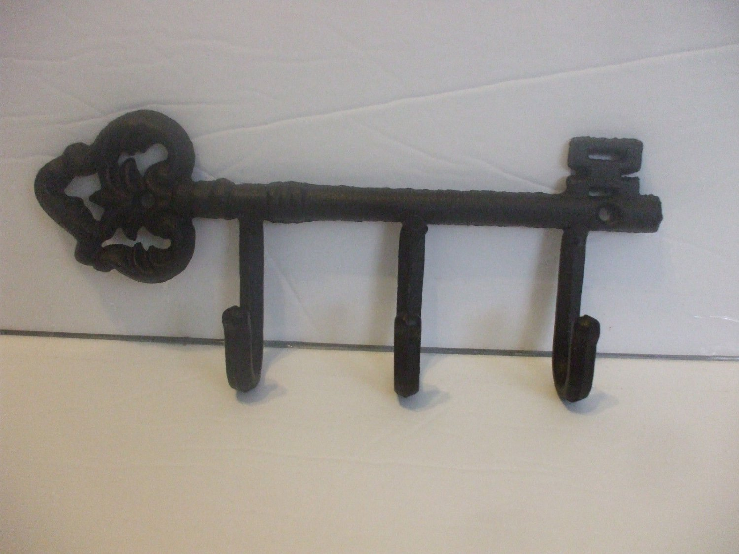 Shabby Chic Cast Iron Key  Metal Wall Hook Black  8.5 Inches