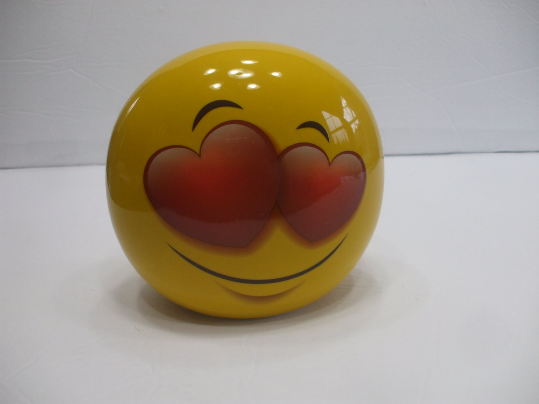 Yellow Ceramic Love Heart Emoji Coin Piggy Bank