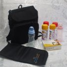 Black Diaper Bag Backpack  Baby Bottles Changing Mat And Quick Steam Bags LOT