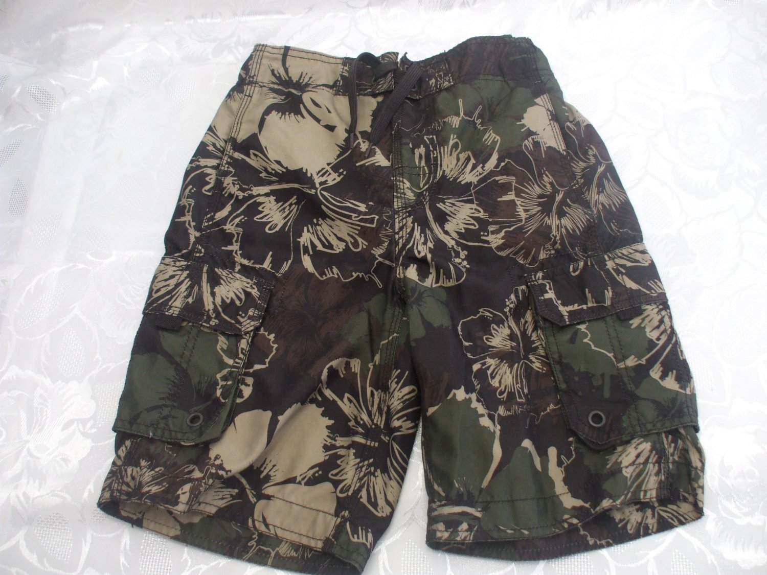 Boys Green Board Shorts Swimming Trunks Size S/P 7-8 George 100 Polyester