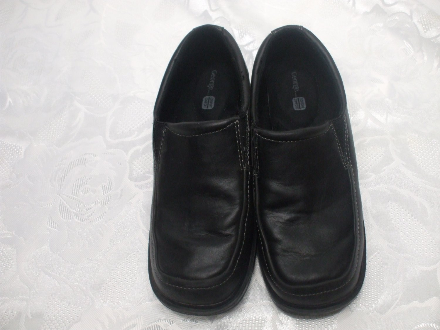 George Comfort  Black Dress Shoes Size 3 Boys Heel To Toe 9.5 Inches