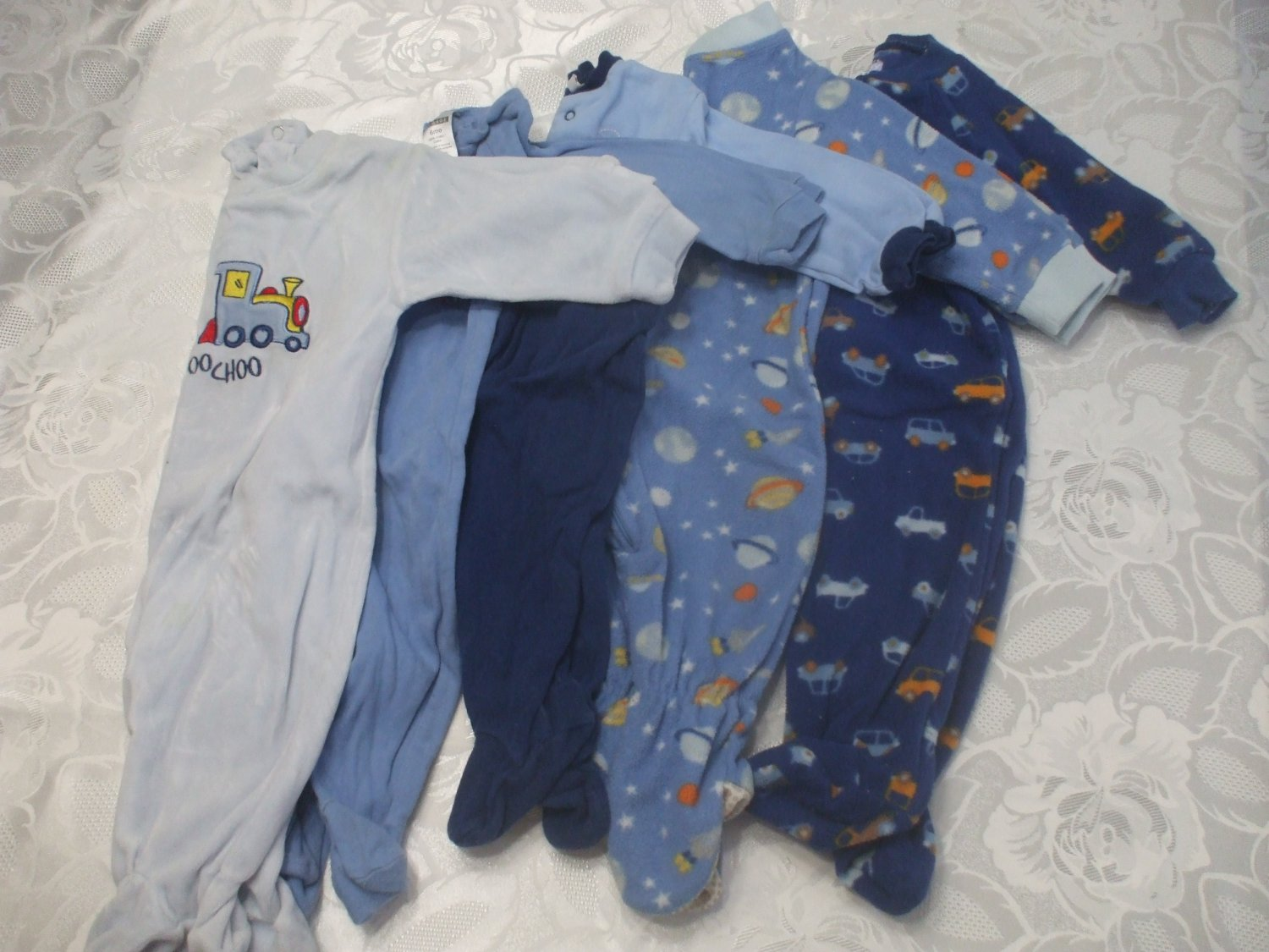 Lot 5 Baby Rompers 6-9 Months Cotton Blends