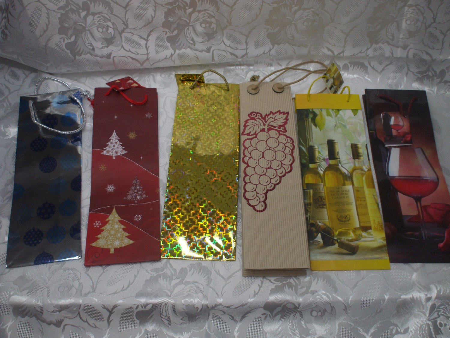 6 EMPTY  Wine Bottle Bags For Holidays