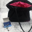 Large Black Nylon Avon Purse with Jewelry Earrings And Necklace