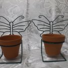 2 Terra Cotta Pots With Green Metal Butterfly Hanger