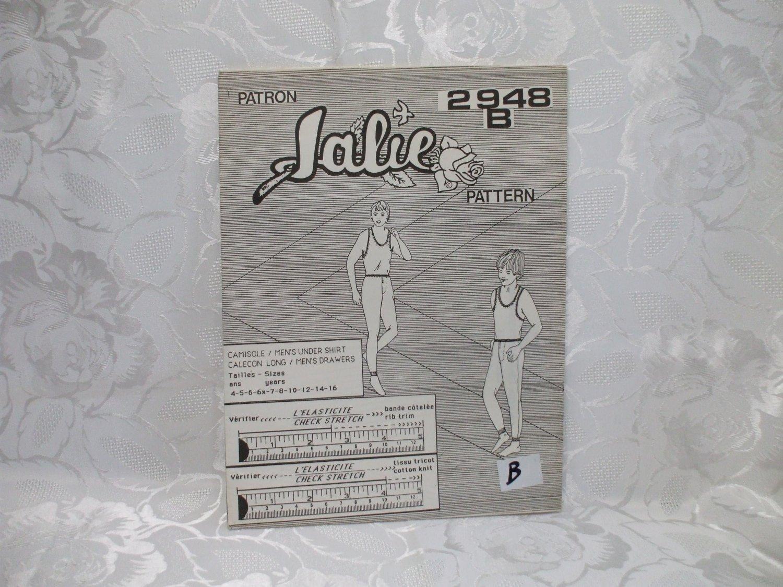 Jalie Pattern 2948B Men's Under Shirt and Men's Drawers UNCUT 7 Pieces