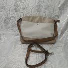 Women's Beige / White Purse PCV / Adjustable Shoulder Strap