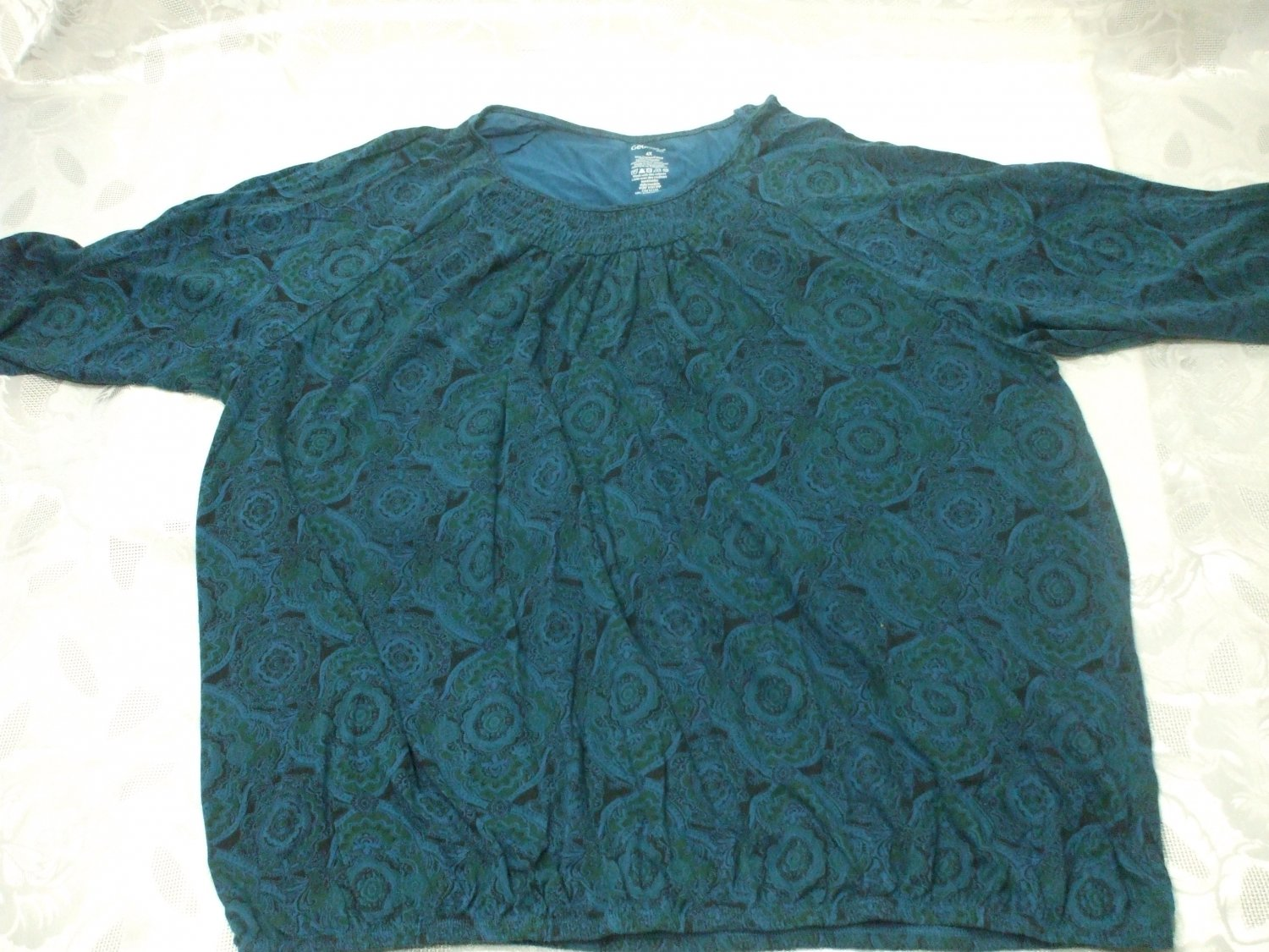 Short Sleeve Blue Blouse Size 4X cotton / polyester