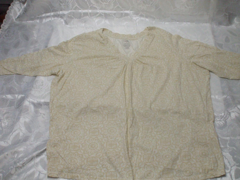 Short Sleeve Cream  Blouse Size 4X Cotton / Polyester