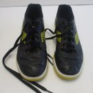Diadorra Boys Size 5 Indoor Soccer Shoes Black Leather Yellow Soles 10 Inches long