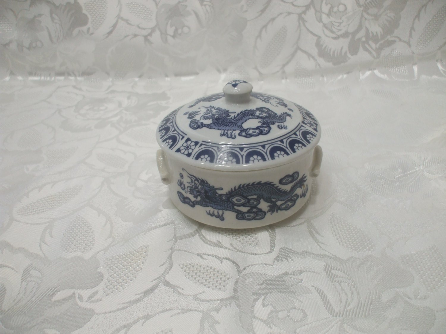 Blue / White Dragon Motifs Candy Dish With Lid