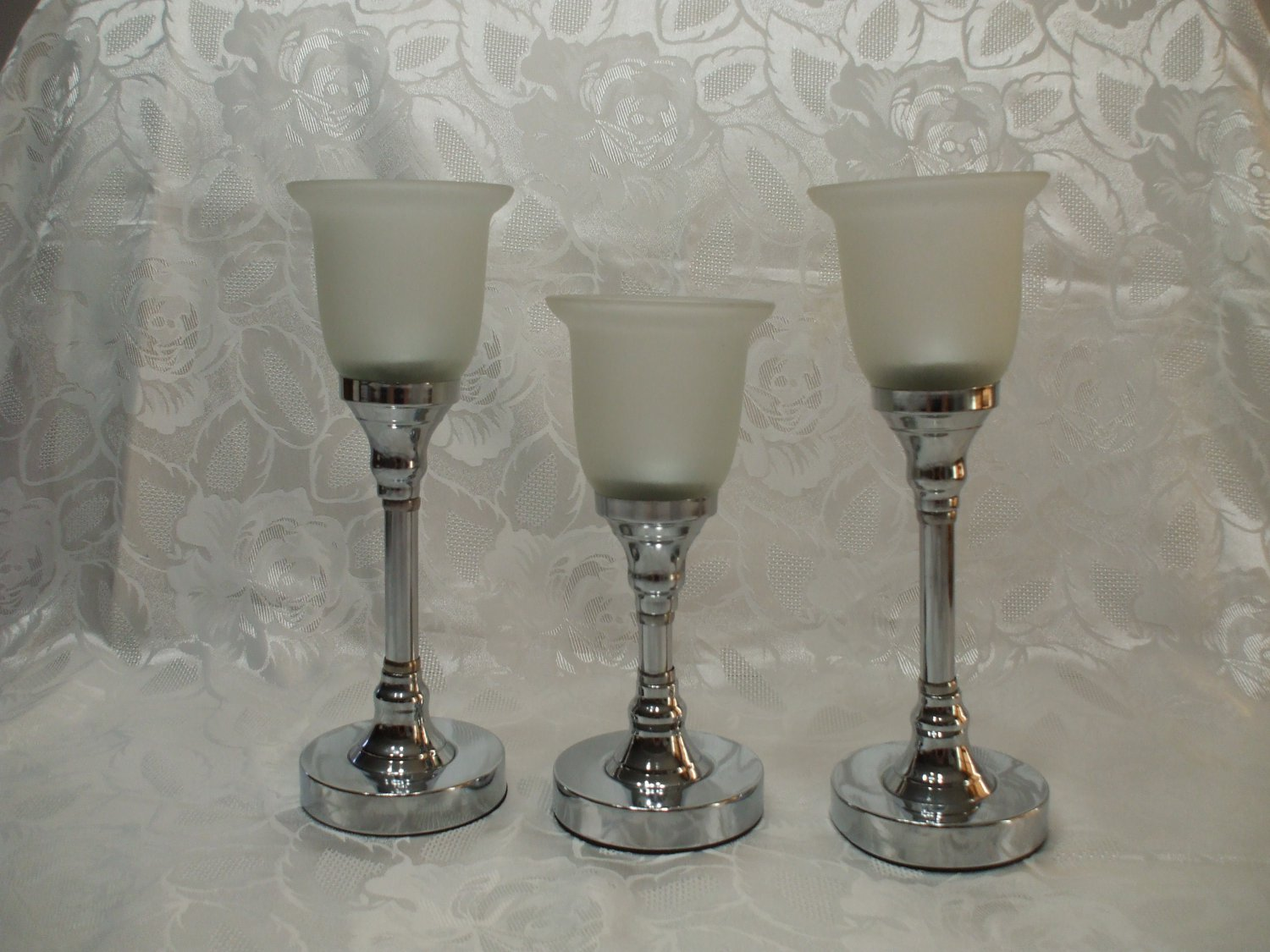 3 Candle Holders With Thick Frosted Glass