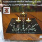 Wooden Candle Holder with Tealights and Decorative Glass Marbles