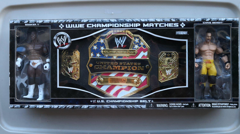 wwf ljn wrestling superstars U.S. championship belt & booker t & chris benoit wrestling figures