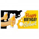 Yellow and Black Oktoberfest Birthday Banner Personalized Party Backdrop Deco...