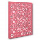 Alphabet Nursery CANVAS Wall Art – Personalized Baby Name Decor–pink and white