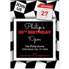 Black And White Pattern Happy Birthday Party Invitations