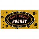 Birthday Banner Hockey Personalized Yellow and Black Party Backdrop
