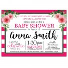 Pink and White Striped Floral Baby Shower Invitations