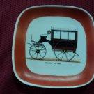 Vintage rare old porcelain dish - plate  old bus -verbano