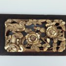 old  Chinese carved wood fragment, hand painted  back stamp