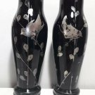 old Pair vases Black glass Hand-painted birds Silver