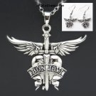 2019 BON JOVI America Rock Band NECKLACE + EARRINGS Set Pendant Charms Props Cosplay