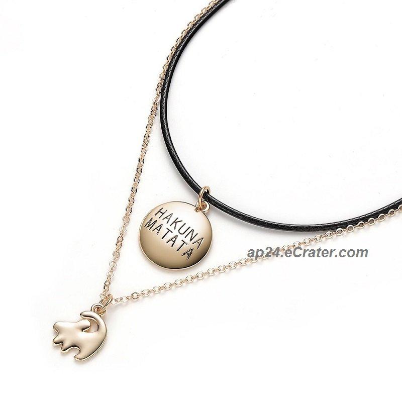 2019 Hakuna Matata Lion King Simba Leather Rope Gold Chain Pendant Necklace Jewelry