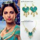 2019 ALADDIN Princess Jasmine Heart Necklace + Earrings SET Naomi Scott Props Cosplay