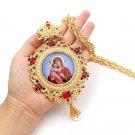 Orthodox Round Pectoral Cross Jesus Mary Religious Byzantine Crucifix Catholic Pendant Necklace