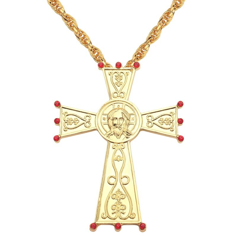 Pectoral Jesus Cross Pendant Necklace Orthodox Religious Fashion HipHop Twisted Chain Men jewelry