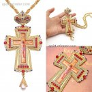 Jesus Pectoral Cross Pendant Necklace Orthodox Religious Fashion HipHop Red Crystal Men jewelry