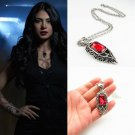 ShadowHunters Isabelle Lightwood Amor Necklace Red Crystal Pendant Charm Props in BOX