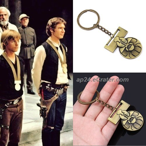 Star Wars IX Medal of Yavin Luke Skywalker Han Solo A New Hope Key Chain Key Ring KeyChain KeyRing