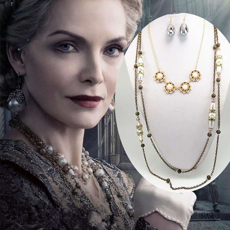 2019 Maleficent 2 Queen Ingrith Pendant Necklace Earrings Set Michelle Pfeiffer Cosplay X'MAS Gift