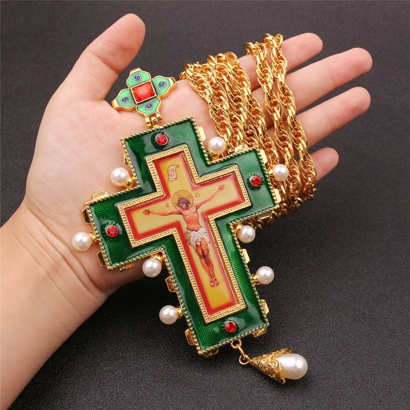 Jesus Holy Pectoral Cross Pendant Long Necklace Crucifix Orthodox Church Fashion HipHop Men jewelry