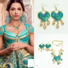 2019 Movie ALADDIN Princess Jasmine Heart Necklace Earrings Naomi Scott Props Cosplay SET